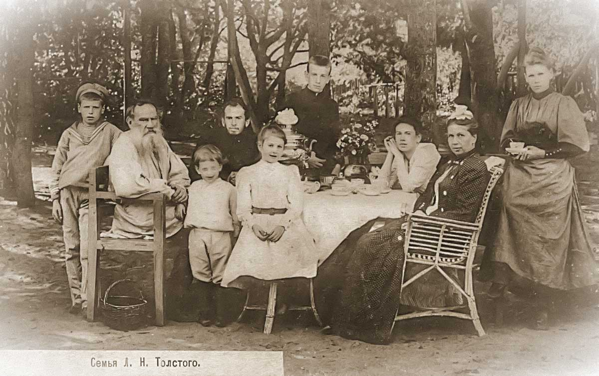 Leo Tolstoy with his family